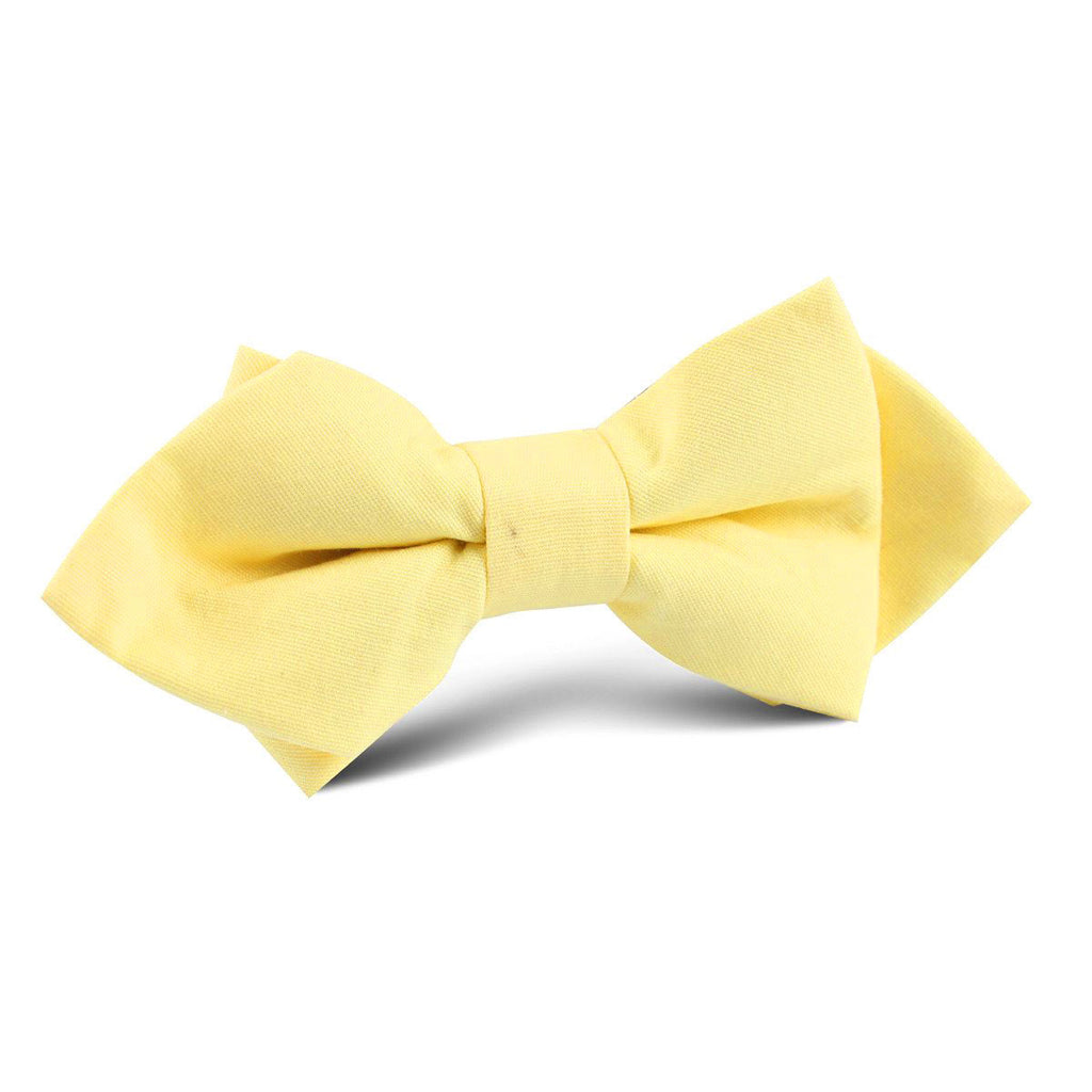 Pastel Yellow Cotton Diamond Bow Tie