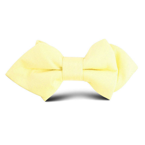 Pastel Yellow Cotton Kids Diamond Bow Tie