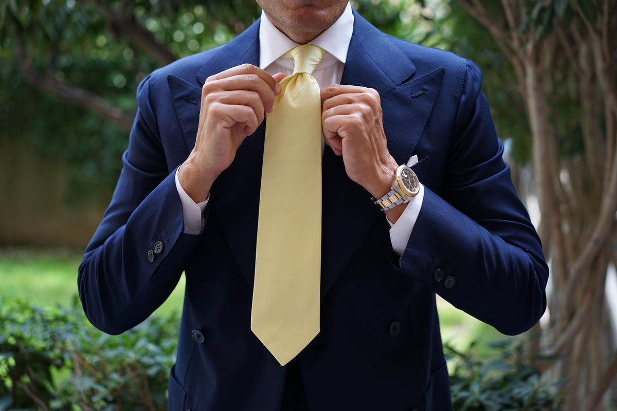 Pastel Yellow Cotton Necktie