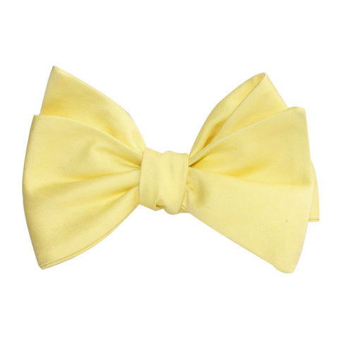 Pastel Yellow Cotton Self Tie Bow Tie