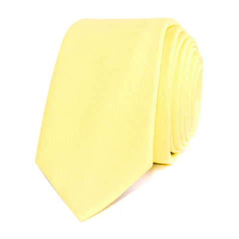 Pastel Yellow Cotton Skinny Tie