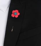 Americain Red Lapel Pin Suit Jacket Boutonniere