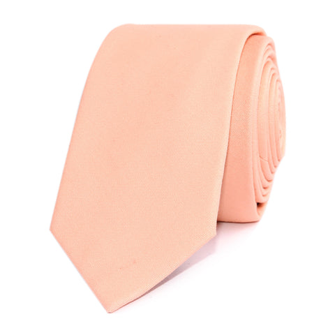 Peach Cotton Skinny Tie