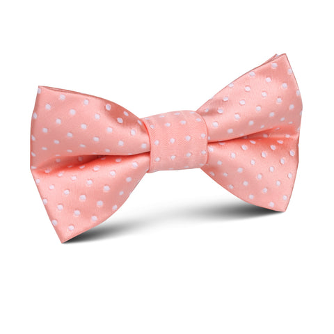 Peach Mini Polka Dots Kids Bow Tie