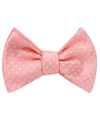 Peach Mini Polka Dots Self Bow Tie