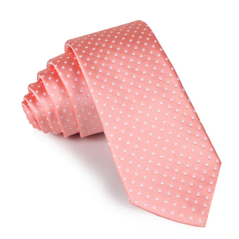 Peach Mini Polka Dots Skinny Tie
