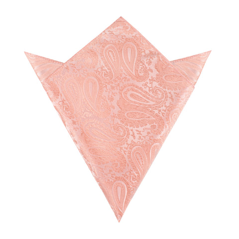 Peach Paisley Pocket Square