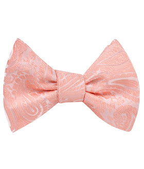 Peach Paisley Self Bow Tie