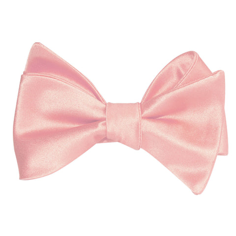 Peach Satin Self Tie Bow Tie