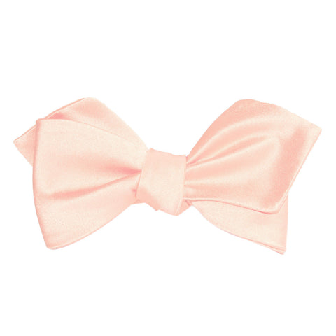 Peach Satin Self Tie Diamond Tip Bow Tie