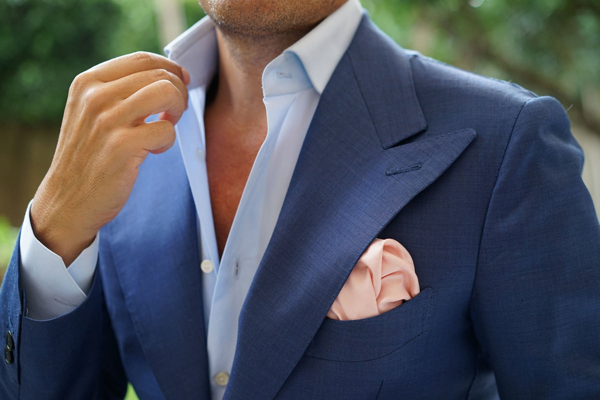 Peach Slub Pocket Square