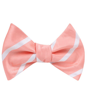 Peach Striped Self Bow Tie