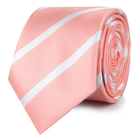Peach Striped Skinny Tie