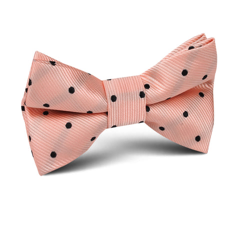 Peach on Black Polka Dots Kids Bow Tie