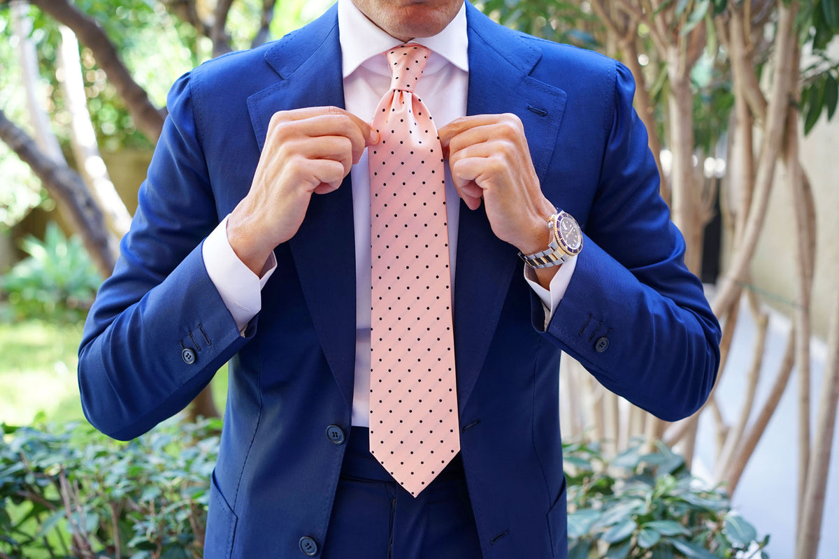 Peach on Black Polka Dots Necktie