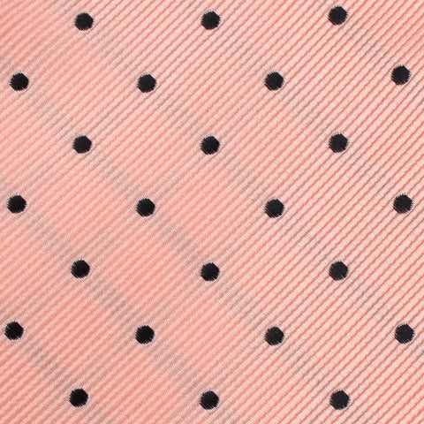 Peach on Black Polka Dots Pocket Square