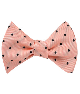 Peach on Black Polka Dots Self Bow Tie
