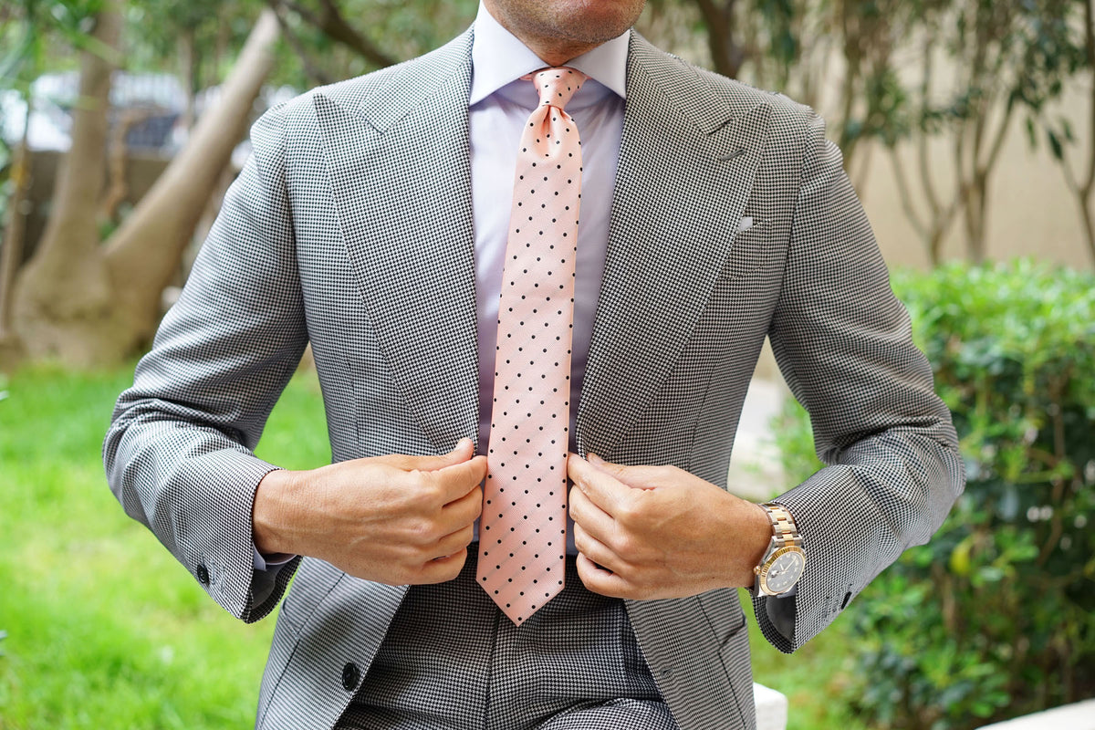 Peach on Black Polka Dots Skinny Tie