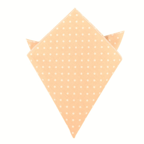 Peach with White Polka Dots Cotton Pocket Square