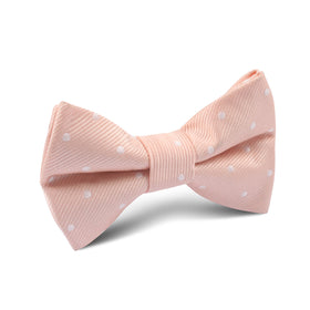 Peach with White Polka Dots Kids Bow Tie