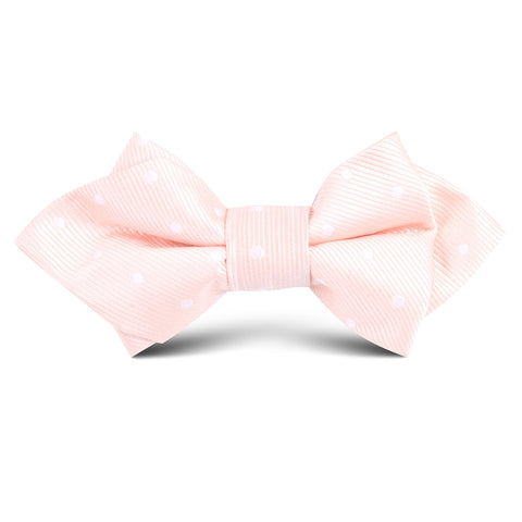 Peach with White Polka Dots Kids Diamond Bow Tie