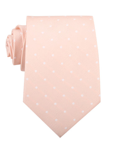 Peach with White Polka Dots Necktie