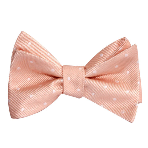 Peach with White Polka Dots Self Tie Bow Tie
