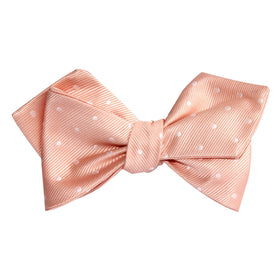 Peach with White Polka Dots Self Tie Diamond Tip Bow Tie