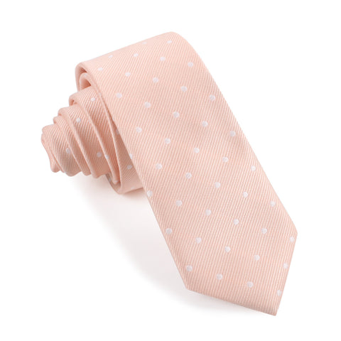 Peach with White Polka Dots Skinny Tie