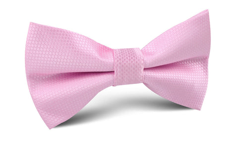 Peony Pink Basket Weave Bow Tie