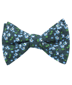 Periwinkle Floral Self Bow Tie