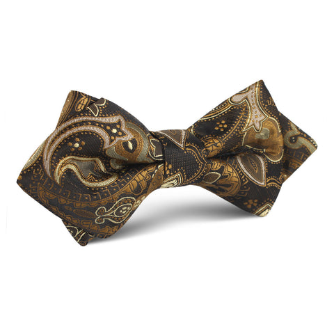 Persian Paisley Brown Diamond Bow Tie
