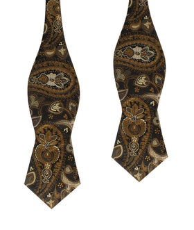 Persian Paisley Brown Diamond Self Bow Tie