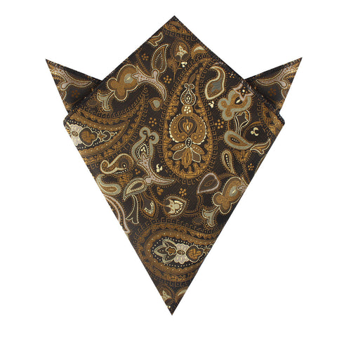Persian Paisley Brown Pocket Square