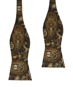 Persian Paisley Brown Self Bow Tie