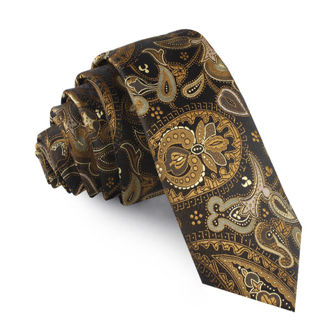 Persian Paisley Brown Skinny Tie