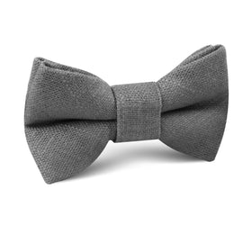 Pewter Grey Linen Kids Bow Tie