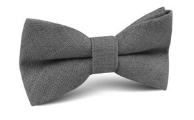Pewter Grey Linen Bow Tie