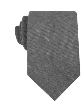 Pewter Grey Linen Necktie