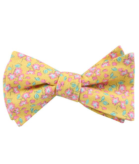 Phi Phi Yellow Floral Self Bow Tiel Self Bow Tie