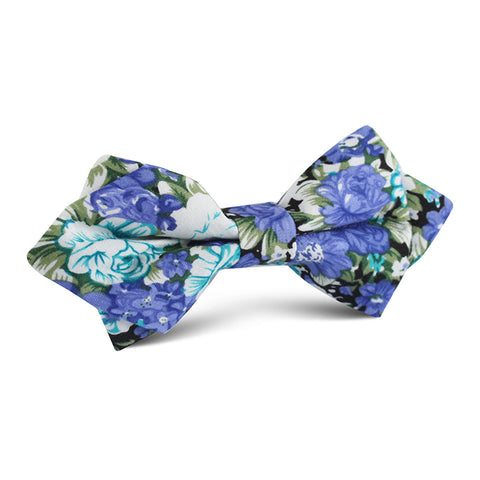 Pianosa Purple Floral Diamond Bow Tie