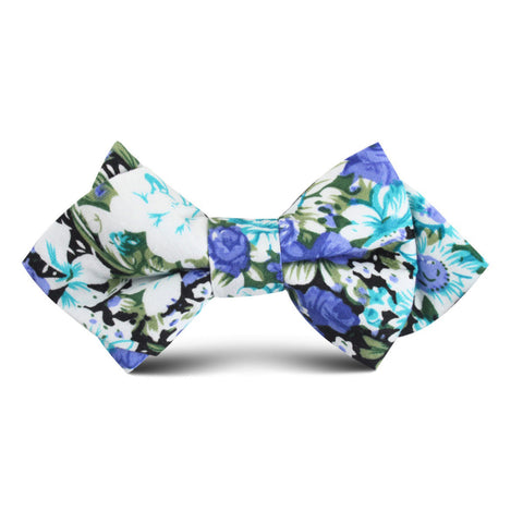 Pianosa Purple Floral Kids Diamond Bow Tie