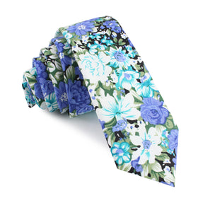 Pianosa Purple Floral Skinny Tie