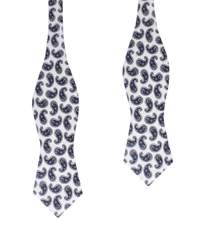 Picasso White on Blue Paisley Diamond Self Bow Tie