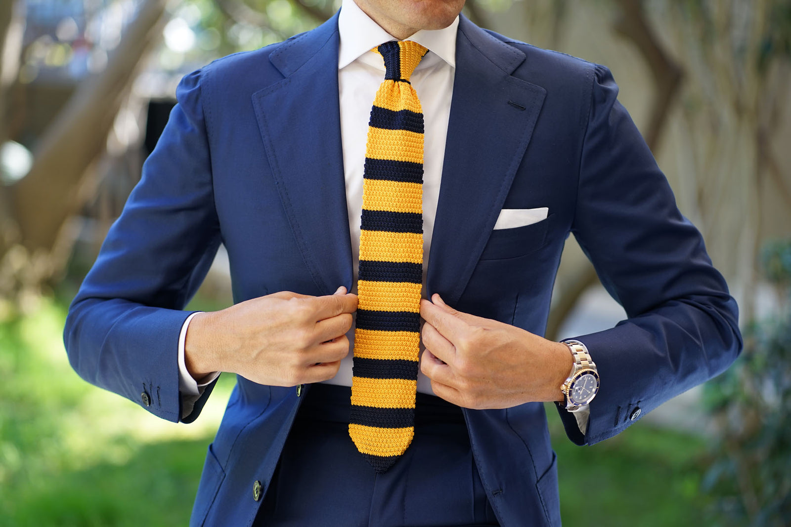 Pineapple Yellow Striped Knitted Tie