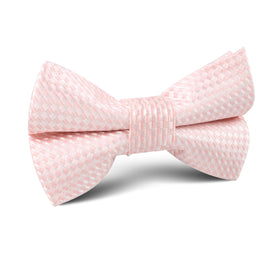 Pink Basket Weave Checkered Kids Bow Tie