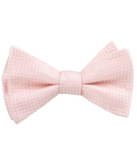 Pink Basket Weave Checkered Self Bow Tie