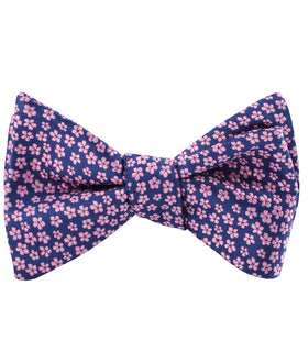 Pink Plum Blossom Floral Self Bow Tie