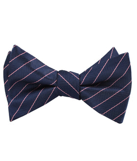 Pink Striped Navy Blue Herringbone Self Bow Tie