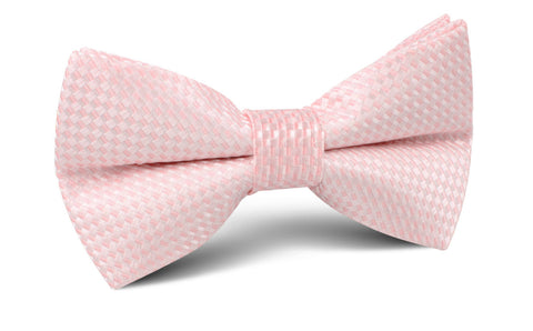 Pink Basket Weave Checkered Bow Tie